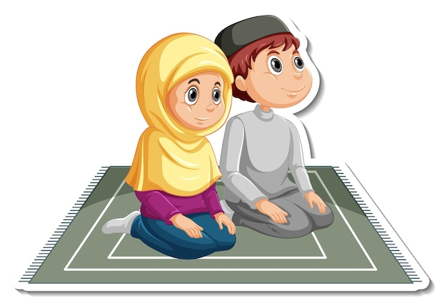 A sticker template with a couple of muslim kids cartoon character