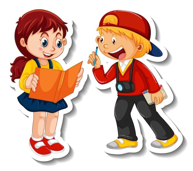Шаблон стикера с парой детей студентов мультипликационный персонаж изолированы