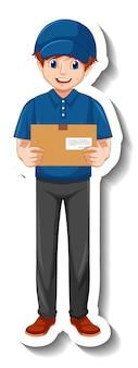 Un modello di adesivo con l'uomo corriere in scatole di contenimento uniformi