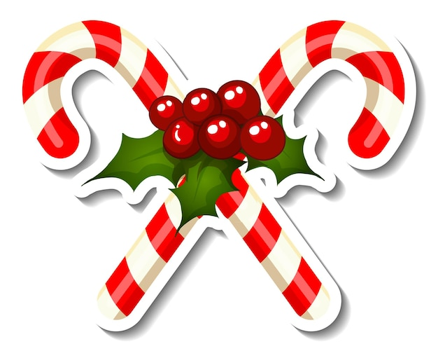Sticker template with cross candy cane isolated