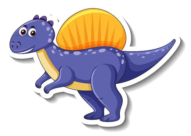 Un modello di adesivo con un simpatico personaggio dei cartoni animati di dinosauro isolato