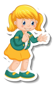 Sticker template with a cute girl cartoon character isolated