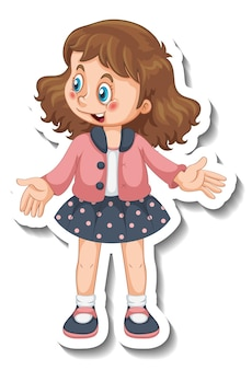 Sticker template with a cute girl in standing pose isolated