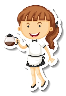 Sticker template with cute maid cartoon character isolated