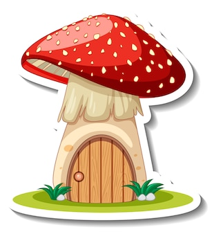 A sticker template with cute mushroom house isolated