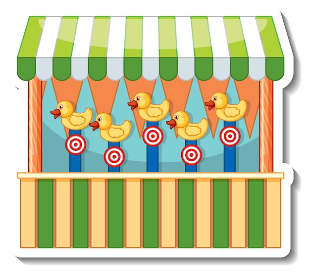 Sticker template with dart game store front isolated