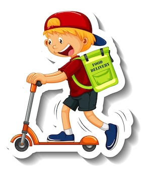Un modello di adesivo con il ragazzo delle consegne in sella a uno scooter