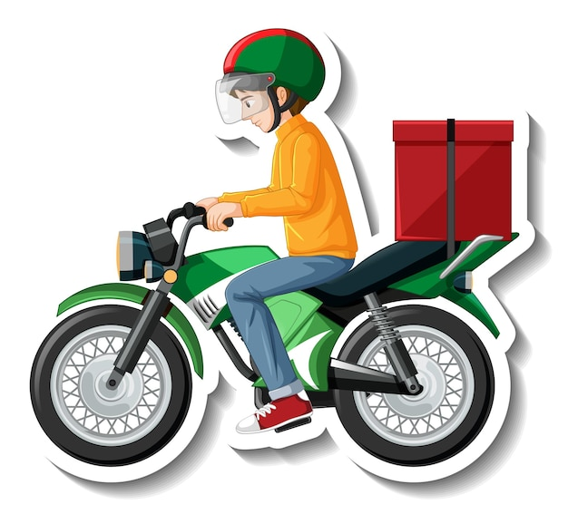 A sticker template with delivery man on motorcycle