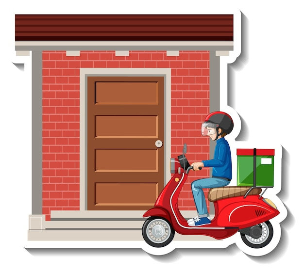 A sticker template with delivery man riding scooter
