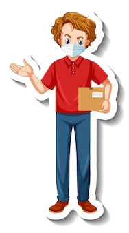 A sticker template with delivery man in uniform holding boxes