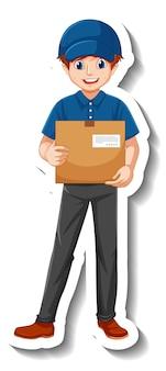 Un modello di adesivo con il fattorino in scatole di contenimento dell'uniforme