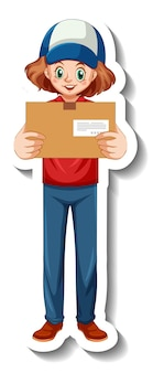 A sticker template with delivery woman in uniform holding boxes