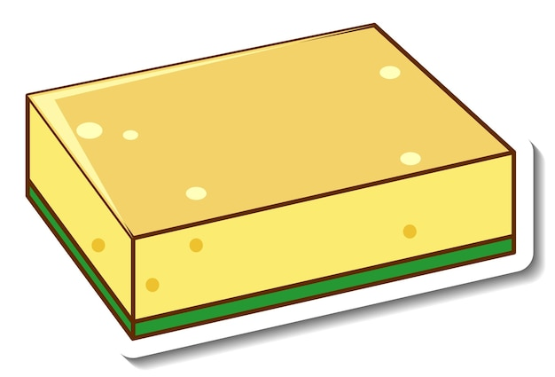 A sticker template with dish sponge isolated