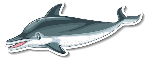 Modello di adesivo con un personaggio dei cartoni animati delfino isolato