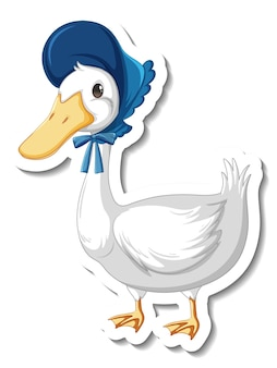 Sticker template with a duck wearing maid costume isolated