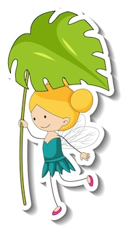 Sticker template with a fairy cartoon character holding a leaf isolated