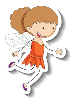 Sticker template with a fairy girl cartoon character isolated