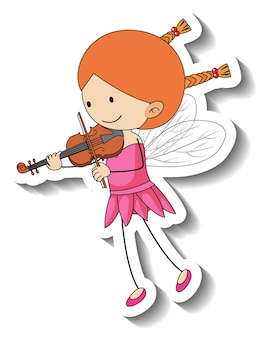 Sticker template with a fairy girl playing a violin isolated