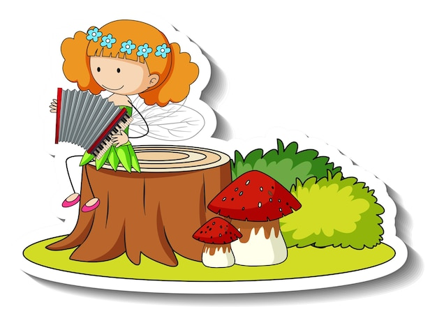 Sticker template with a fairy playing accordion isolated