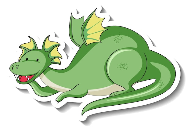 Sticker template with fantasy dragon cartoon character