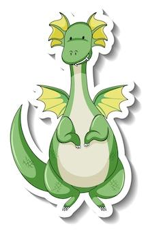 Modello di adesivo con personaggio dei cartoni animati drago fantasy