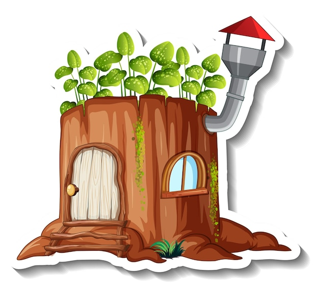A sticker template with fantasy log house isolated