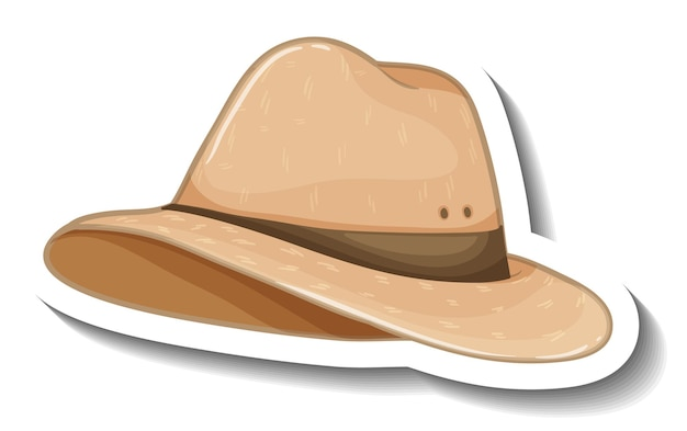 A sticker template with a fedora hat isolated