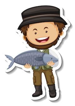 Modello dell'autoadesivo con un personaggio dei cartoni animati dell'uomo del venditore di pesce isolato