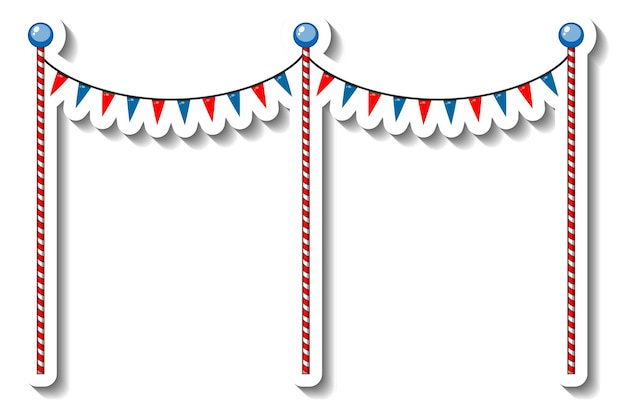 Sticker template with flag decoration poles for funfair isolated