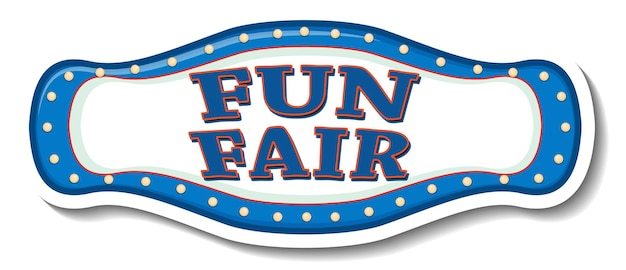 Sticker template with funfair banner isolated