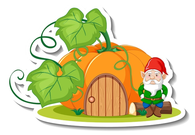 A sticker template with garden gnome or dwarf cartoon chracter