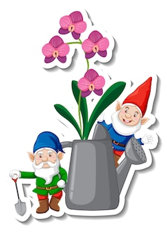 A sticker template with garden gnome and orchids in watering can