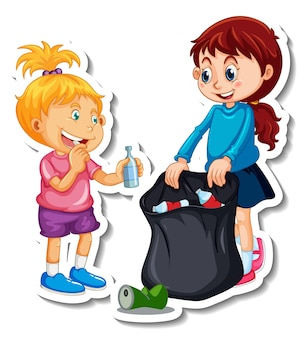 Sticker template with a girl cartoon character isolated