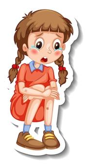 Modello di adesivo con un personaggio dei cartoni animati della ragazza isolato