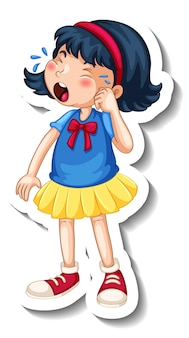 Sticker template with a girl crying cartoon character isolated