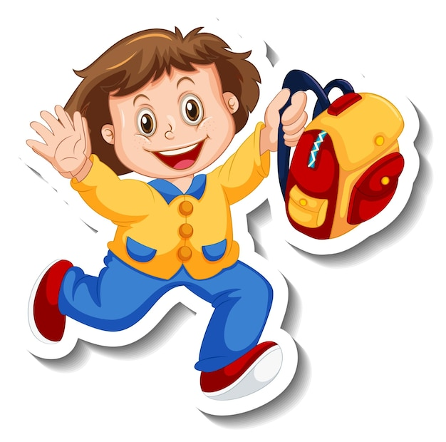 Sticker template with a girl holding backpack isolated