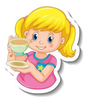 Modello di adesivo con una ragazza che tiene una tazza di tè isolata