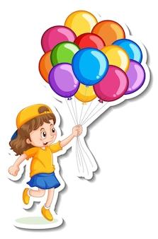Modello di adesivo con una ragazza che tiene molti palloncini isolati