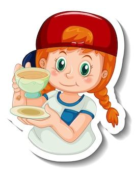 Il modello dell'autoadesivo con una ragazza tiene una tazza di personaggio dei cartoni animati del tè isolato