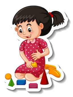 Sticker template with a girl playing with her toy isolated