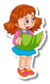 Modello di adesivo con una ragazza che legge un libro isolato