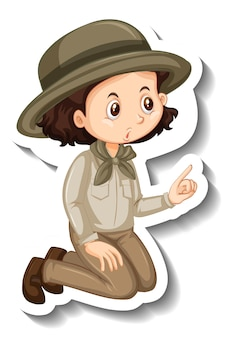 A sticker template with a girl in safari outfit cartoon character