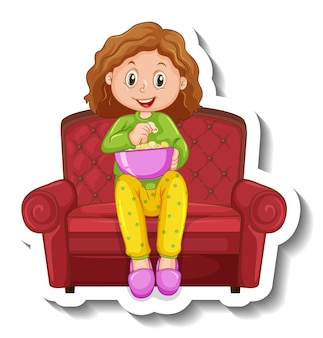 A sticker template with a girl sitting on sofa