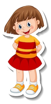 Sticker template with a girl in standing pose isolated