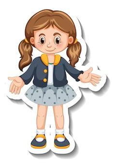 Modello di adesivo con una ragazza in piedi in posa personaggio dei cartoni animati isolato