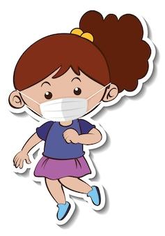 Un modello di adesivo con un personaggio dei cartoni animati di una ragazza che indossa una maschera medica