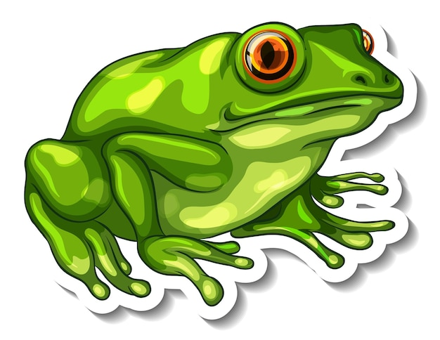 A sticker template with a green frog isolated