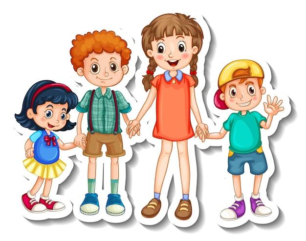 Шаблон наклейки с группой детей мультипликационный персонаж изолированы