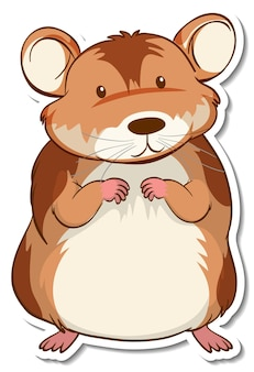 A sticker template with a hamster cartoon character isolated