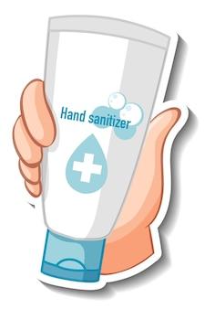 Un modello di adesivo con un disinfettante per le mani che tiene la mano